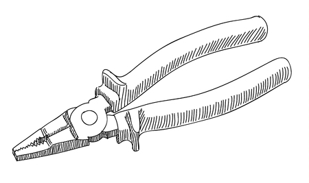 wirecutters: Pliers isolated on a white background. Line art