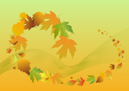 leaves falling: Autumn background with leaves falling Illustration