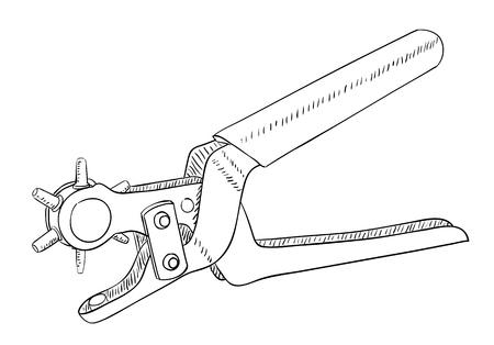 hole puncher: Leather hole puncher isolated on white. Vector illustration.