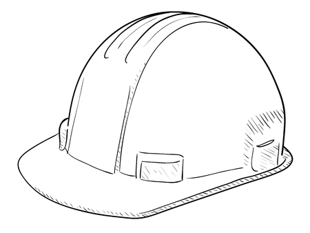 Hand drawn vector drawing of a Construction Hard Hat