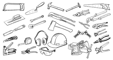 Tools collection in black and white