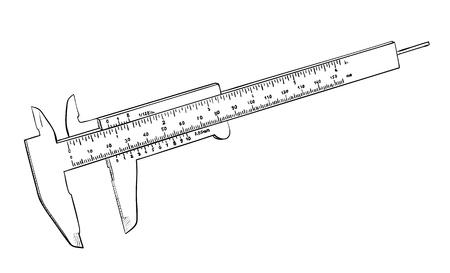 caliper: Vernier caliper isolated on white