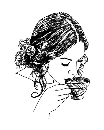 clipart: Young lady with hot coffee or tea