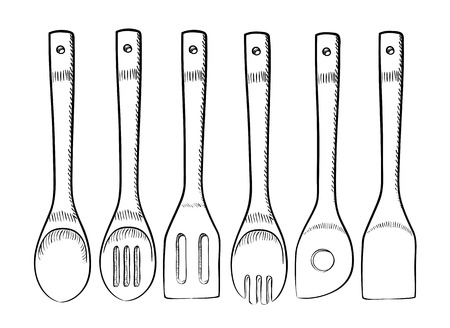 Set of wooden spoons for commercial and home kitchens