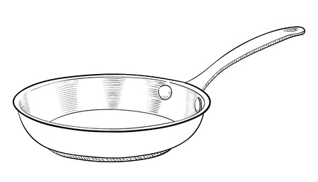 stainless steel kitchen: A hand drawn illustration of a cooking pan