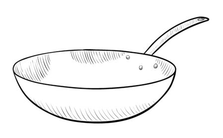 fryer: Frying pan in black and white illustration