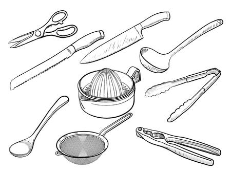 sieve: Kitchen utensil sketches Illustration