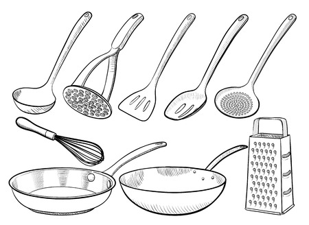 rasp: Kitchen utensil sketches Illustration
