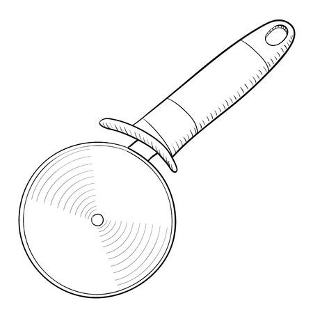 Pizza cutter, doodle style, sketch illustration Ilustração