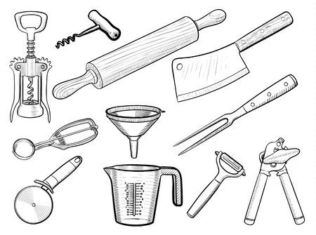 can opener: Kitchen utensil sketches Illustration