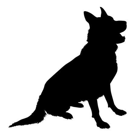 German Shepherd Silueta Ilustración de vector