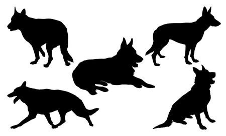 German Shepherd Silhouette Collection Illustration