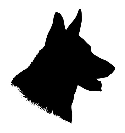 German shepherd dog head, black and white illustration