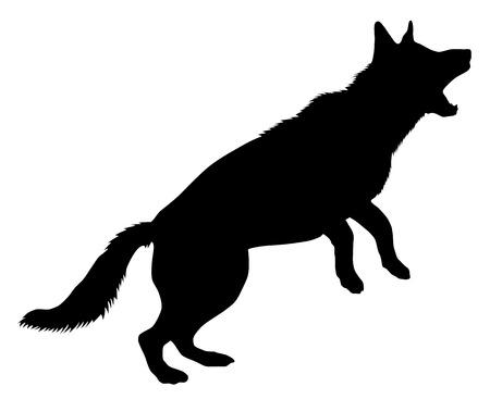 perro policia: German Shepherd Silueta Vectores