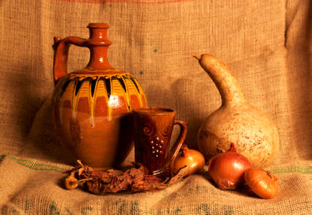 Autumn country still life with various old objects Standard-Bild