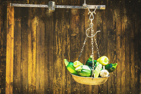 green marrow squash (Zucchini) and garlic hanging in metal beam scale in front of wooden rustic door, space for text and various design
