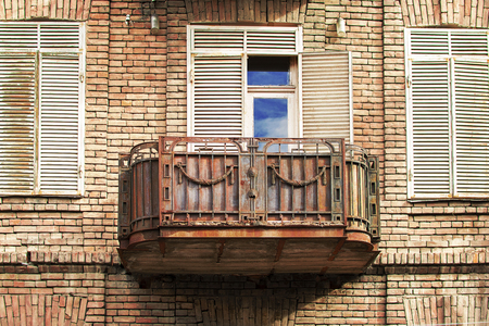 Iron made old balcony on the streets of Tbilisi, Georgia