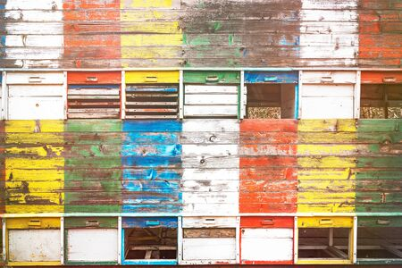 Vintage colorful wooden beehives with doors and hinges. Aged wood on a bright sunny summer day.