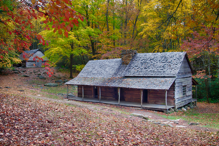Mountain log cabin homestead with colorful fall foliage