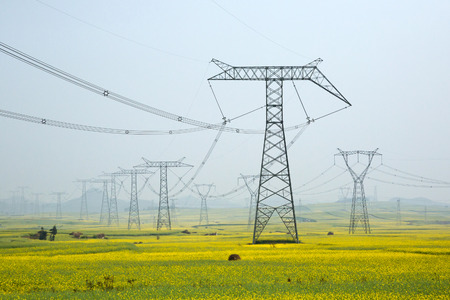 High voltage pole in the midst of nature. Stockfoto