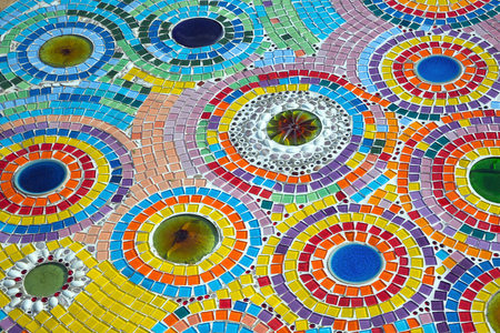 Colorful patterns of beautiful ceramics on the walkway. Stock Photo
