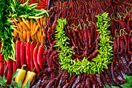 Colorful patterns of fresh chili paste for cooking.
