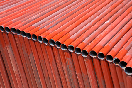 Patterned surface of the painted steel for construction. 스톡 콘텐츠