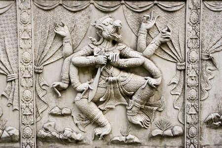 Hanuman sculpture art on the wall