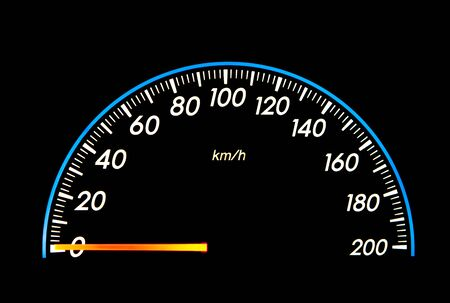 Speedometer with black background photo
