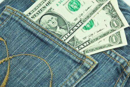 dollar bill in pocket
