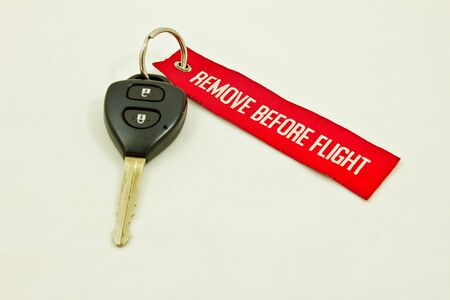 car key ,Isolated on white with red key ring