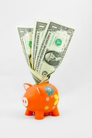 thrifty: piggy bank with isolated background