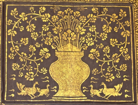 thai painting on fabric gold photo