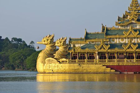 The Karaweik palace  on Kandawgyi Lake in Yangon in Myanmar - landmark