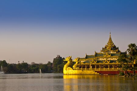The Karaweik palace on Kandawgyi Lake in Yangon - Myanmar Editorial