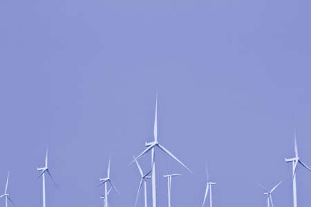 White wind turbine. n thailand and sky in the background. Stock Photo