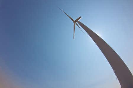 below: Wind Turbine from below Stock Photo