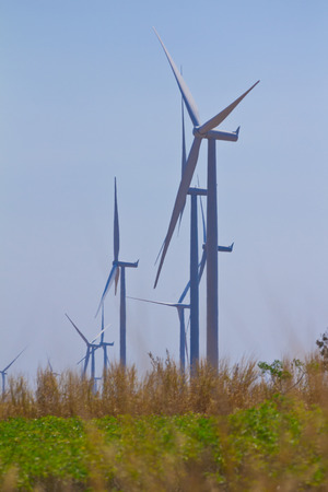group of wind turbine in thailand