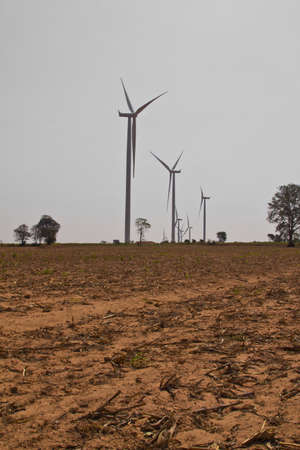 Eco power, wind turbines with agricultural field Stock Photo