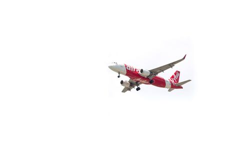 airasia airline , landing to Bangkok Don Muang Airport, thailand  on white background