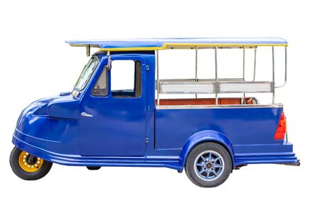 vehicle with isolated on white background. Traditional motor tricycle for transport passengers in Asia. Empty three-wheeler moto taxi.