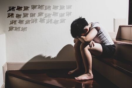 Young boy sitting and crying,Family violence and aggression concept.