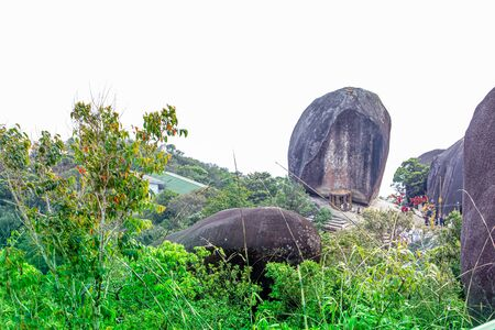 CHANTHABURI, THAILAND - MARCH 3, 2017: The mountain peak of Khao Khitchakut, to pay respects to the footprint of the Buddha and gigantic stone, Hugh stone.