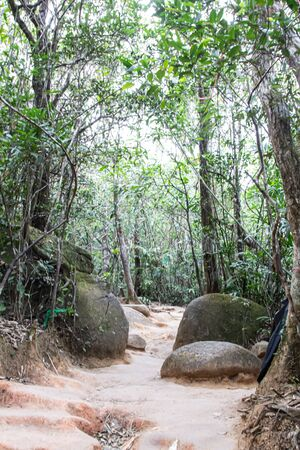 CHANTHABURI, THAILAND - MARCH 3, 2017: The walk way to the mountain peak of Khao Khitchakut, to pay respects to the footprint of the Buddha and gigantic stone, Hugh stone.