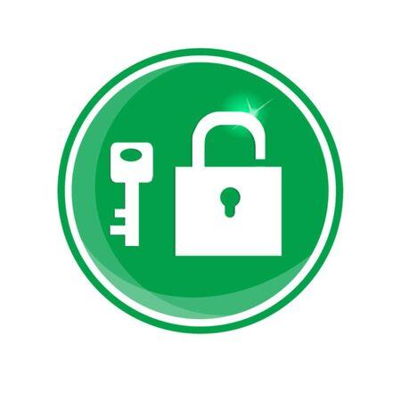 guard duty: candado y llave aislados en verde Vectores
