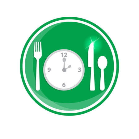 second meal: Fork, spoon and clock, meal time. Illustration for You creative Illustration