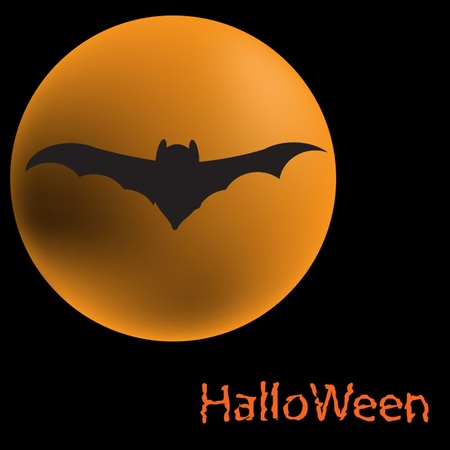 Halloween background Silhouette bat of the moon and the night sky Vector