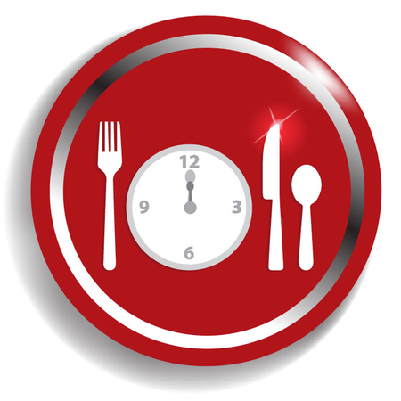 second breakfast: Fork, spoon and clock, meal time. Illustration for You creative Illustration