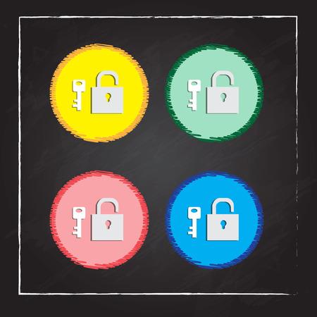 unbreakable: padlock and key isolated Illustration