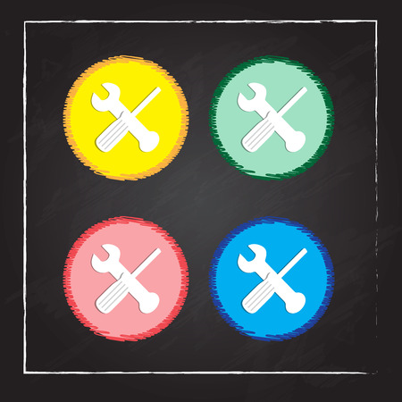crossed wrench and screwdriver icon - vector illustration Çizim